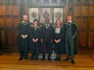 004: At the MRes graduation ceremony of the University of Glasgow, along with Wellcome Trust-supported classmates Ms Tamsin Zangerle Murray, Mr Daniel N. A. Tagoe, Ms Dominika Korzekwa and Mr Pieter C. Skeketee.