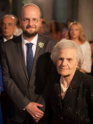 007: With my grandmother, Mrs Sophia Gkioka-Gkrourvelou, at my sister's wedding (2014).